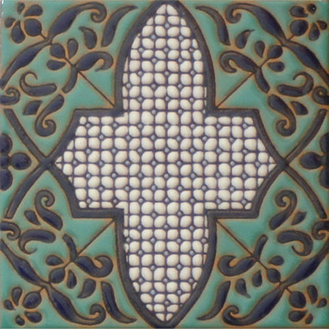 Moorish style raised relief tile