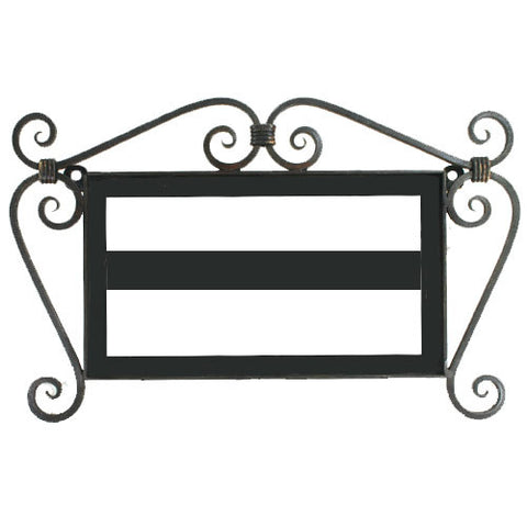 Ornate scrollwork iron house number frame