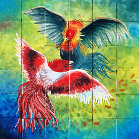 Mexican Style Mural - Gallos