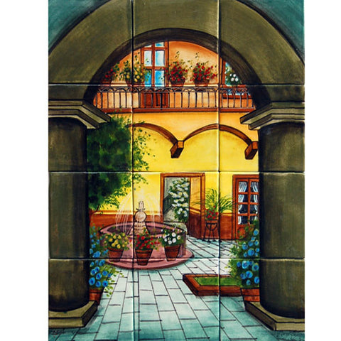 Mexican Style Mural - Patio Tipico - Mexican Tile Designs on Mexican Patio Ideas id=52032