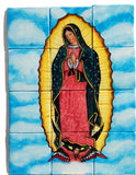 Tile mural of Virgen de Guadalupe with clouds and sky