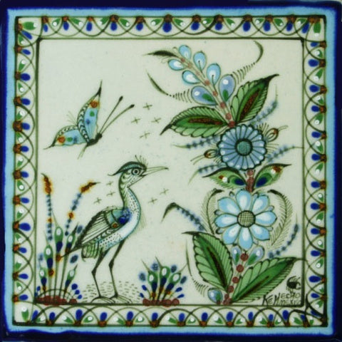 Heron and butterfly tile by Ken Edwards