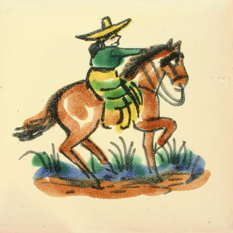 Gorky Gonzalez Mexican art cowgirl tile