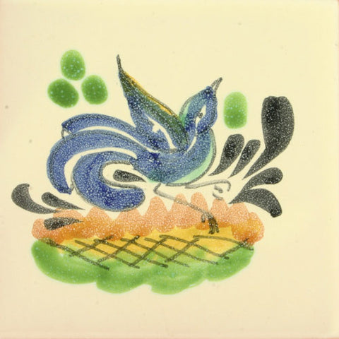 Gorky Gonzalez Mexican blue bird tile