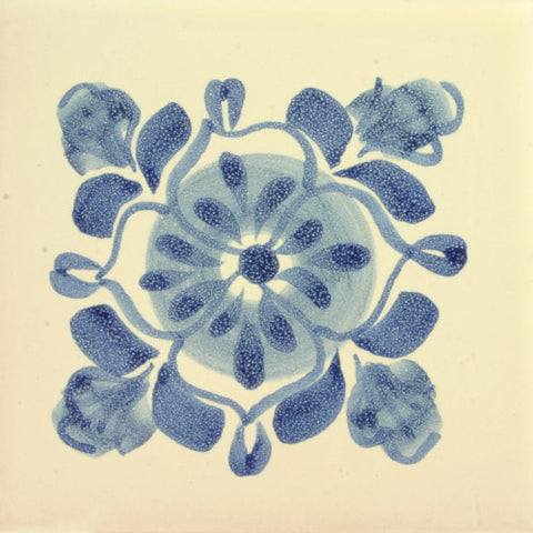 Gorky Gonzales blue flower art tile