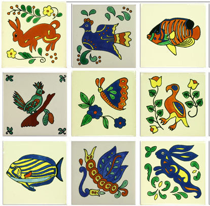 whimsical animals ceramic Mexican tile collection