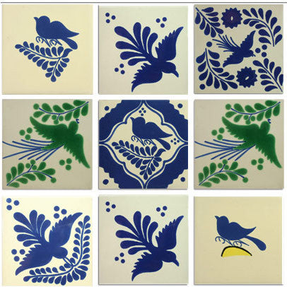 Bird collection Ceramic Mexican tile