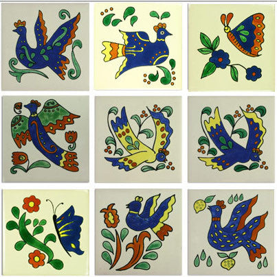 Birds and Butterflies Ceramic Mexican Tile collection