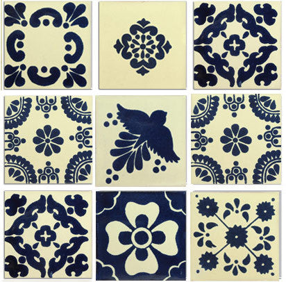 Blue and white Talavera tile collection