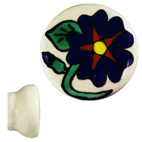 Hand Painted Ceramic Knob - Capuchina Azul