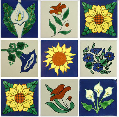 flower motifs Mexican ceramic tile collection