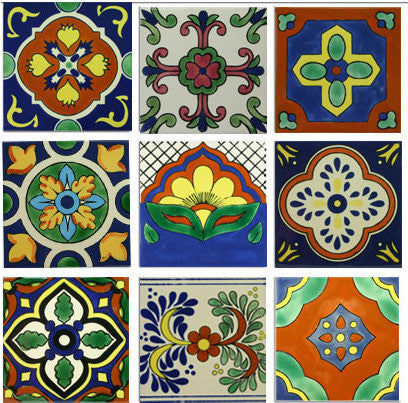 Classic Mexican ceramic decorative tile collection