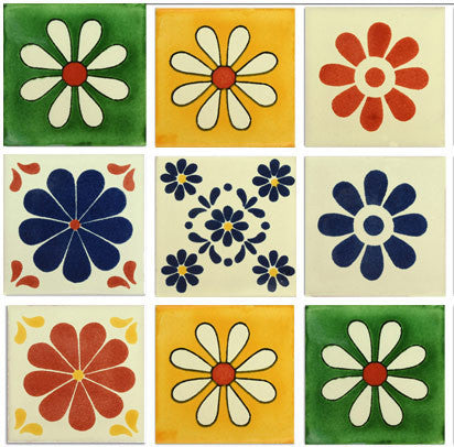 Daisies Mexican Talavera Tile Collection Mexican Tile