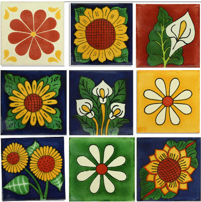 Flowers 1 sq. ft collection Mexican tile