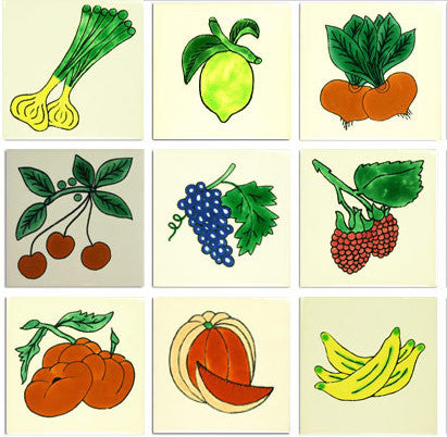 Fruit and Vegetable designs ceramic Mexican tile collection