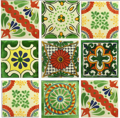 Green and Gold Mexican Talavera tile collection