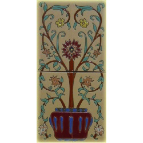 Raised relief floral tile mural