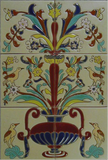 raised relief tile mural with flowers and birds