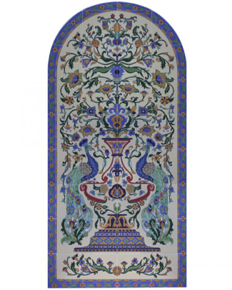 Raised relief Persian-style tile mural