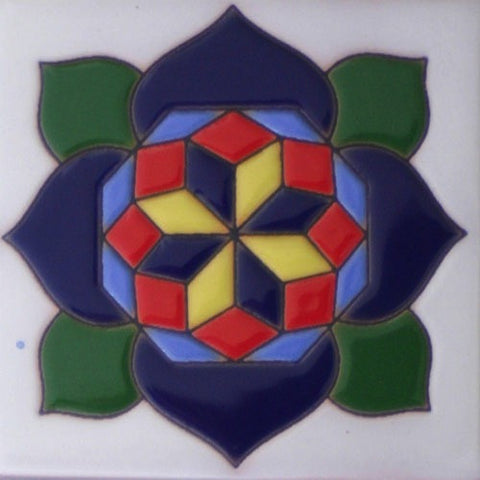 Raised relief flower Mexican tile