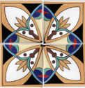 raised relief Mexican tile corner design
