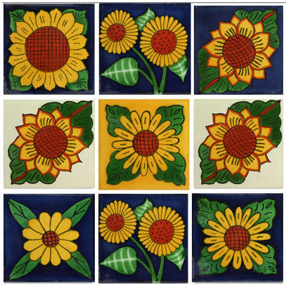 Sunflower Mexican Talavera tile collection