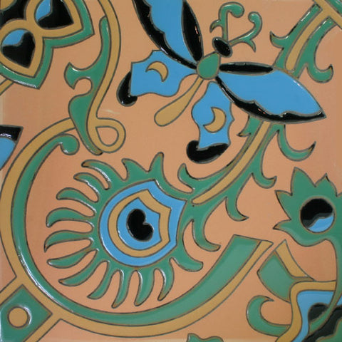 turquoise butterfly patterned floor or wall tile