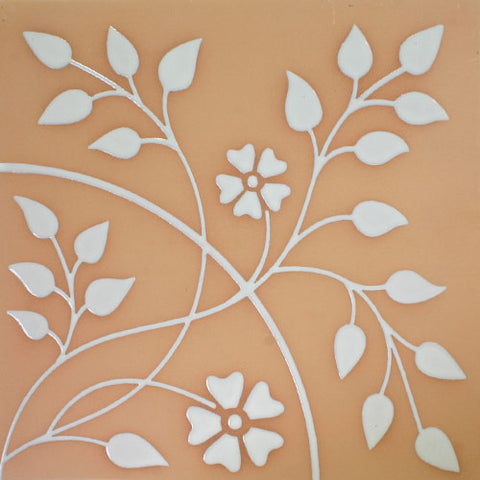 White floral design Mexican floor paver
