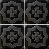 Black decorative raised relief tile
