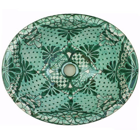 Green decorative Mexican ceramic sink