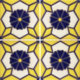 Raised relief blue and yellow tile