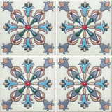 Hand painted raised relief Mexican tile pattern