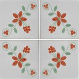 4 tile array red flower decorative Mexican tile