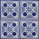 four tile array Mexican decorative tile blue and white
