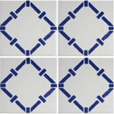 Four tile array decorative blue and white tile