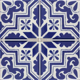 4 tile array cobalt blue and white pattern decorative tile