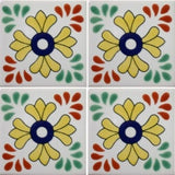 4 tile array decorative ceramic Mexican tile