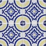 4-tile array decorative Mexican tile yellow and blue