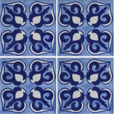 blue and white tile array