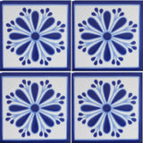 4 tile array blue and white decorative Mexican tile