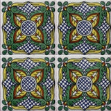 four tile array decorative Mexican tile green and yellow