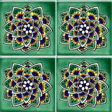 4 tile array decorative Mexican tile Cola de Pavo