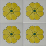 4 tile array yellow flower Mexican tile