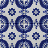 blue and white pattern tile array