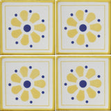 Mexican decorative tile 4 tile array daisy