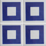 4 tile array blue and white square geometric tile