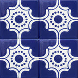 4 tile array of Arabesque Azul Mexican ceramic tile