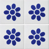 4 tile array blue daisy decorative Mexican tile