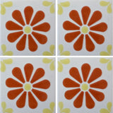 4 tile array decorative Mexican tile daisy
