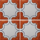 4 tile array of Arabesque Terra Cota Mexican tile